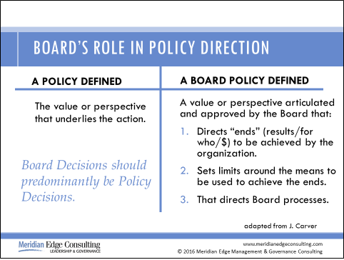 board policy policy governance
